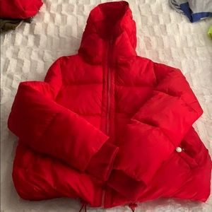 Red bubble coat